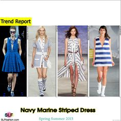 Navy Marine Striped Print Dress Trend for Spring Summer 2015. Emporio Armani, Chanel, Rebecca Minkoff, and Jacquemus#Spring2015 #SS15