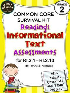 "#CommonCoreReadingInformationalText - this pack includes assessments for the 10 standards. The assessments were carefully made to help you identify if the student mastered the standards or not. ""I Can"" posters were included to constantly remind the students what standards they are currently working on. Checklists were also included to help you track your students' progress."