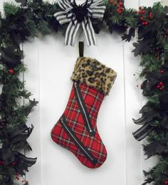 Red and Black Plaid Punk Christmas Stocking #WorkingClassPunx