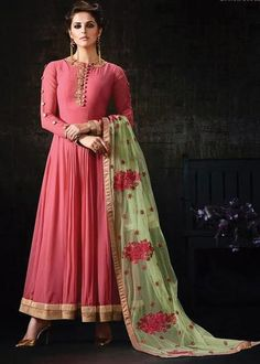 PINK GEORGETTE EMBROIDERED NEW STYLISH ANARKALI DRESS ONLINE Price: US$ 89 FREE SHIPPING USA CANADA