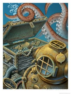 A Deep Sea Diving Suit, Treasure Chest, Compass and Octopus at the Bottom of the Ocean Art Print