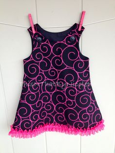 Pink and black swirl aline dress by ThisNThatByNicolette on Etsy,