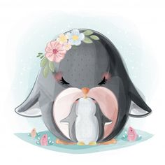 Cute mommy and baby penguin Premium Vector Pinguin Illustration, Cute Animal Illustration, Baby Animal Drawings, Cute Drawings, Baby Animals, Cute Animals, Art Mignon, Baby Painting, Cute Penguins