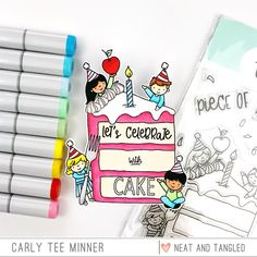 January 2019 Release Day Piece of Cake Piece of Cake Sentiments Birthday Treats, Birthday Cards, Neat And Tangled, Piece Of Cakes, Gift Certificates, Your Cards, Hand Lettering, Stencils, Sweet Treats