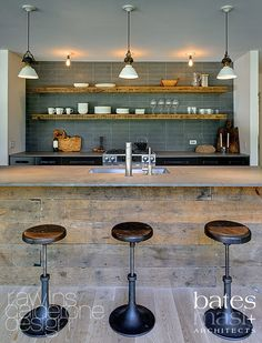 Slate backsplash wall.  use reclaimed wood on the front of the cabinets in dining | http://floordesignsideas.blogspot.com
