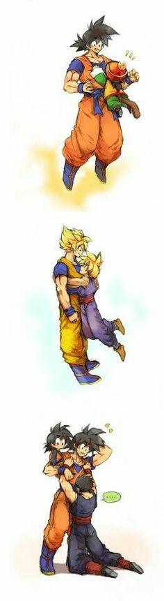 This is very adorable and fun xD Gohan, Goku and Goten / Dragon ball - anime Dragon Ball Gt, Chrono Trigger, Akira, Gohan And Goten, Mega Anime, Dbz Memes, Funny Memes, Goku And Chichi, Chibi