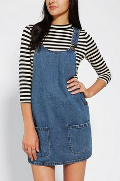 Classic denim Cooperative front pocket overall dress #urbanoutfitters