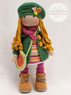 """Crochet pattern for doll IDA pdf Deutsch English """"This listing is for an extensive PDF file which contains full instructions for crocheting and finishing o Crochet Amigurumi, Crochet Doll Pattern, Crochet Toys Patterns, Amigurumi Doll, Amigurumi Patterns, Stuffed Toys Patterns, Doll Patterns, Knitting Patterns, Knitted Dolls"""