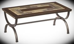 Cocktail Table Zander Metal and Slate Width: 48'' Height: 20'' Depth: 28'' With a warm inviting style that is sure to enhance the atmosphere of any room, rustic styled furniture uses a variety of material and finishes to create a beautiful cocktail table with rich finished birch veneers surrounding natural slate mosaic inlay.