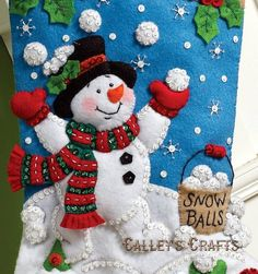 2012 PATTERN Bucilla ~ Snowman Games ~ Christmas Stocking Kit What better toys for Snowmen to play games with than a nice big bucket of snowballs. The little snowman in the toe of this stocking is holding a snowball as he watches the larger s Felt Christmas Stockings, Felt Stocking, Christmas Stocking Pattern, Stocking Tree, Christmas Deer, Christmas Crafts, Christmas Decorations, Christmas Ornaments, Snowman Games