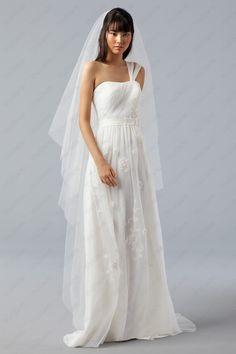 English Net One Shoulder Embroidered Bodice Wedding Dress - http://www.vudress.com/
