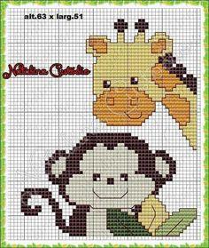 Monkey and giraffe x-stitch