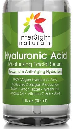 Hyaluronic Acid Serum for Face by InterSight - with Vitamin C and E, MSM, Green Tea, Jojoba Oil, Aloe - 100% Pure - Best Organic and Vegan Anti Aging Moisturizer Liquid - 1000x Hydration - 1 oz. * New and awesome product awaits you, Read it now  : Face Oil and Serums