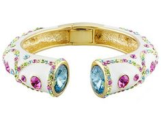Off Park Collection (Tm) Gold Tone Multicolor Crystal Bangle