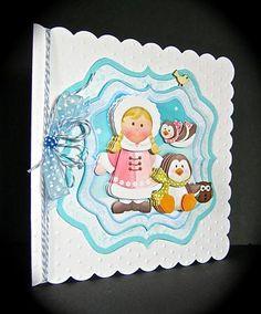 Card Gallery - ESKIMO & PENGUIN PALS Bracket Topper Decoupage & Insert