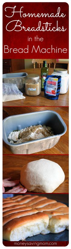 Homemade Bread Sticks in the Bread Machine -- These are SO easy, delicious, and foolproof! The best breadstick recipe I've ever tried! *now if I only had a bread machine* Oreo Dessert, Bread And Pastries, Freezer Cooking, Freezer Meals, Mini Desserts, Real Food Recipes, Cooking Recipes, Yummy Food, Bread Recipes