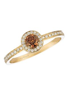 Chocolate Diamond® Ring in 14 Kt. Yellow Gold | Lord and Taylor. $2,700.