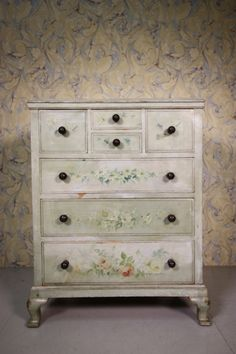 English Antique Chest of Drawers in Original Paint