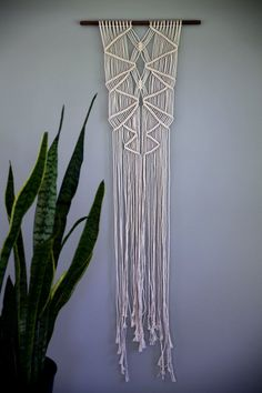 Handmade Macrame Wall Hanging in Natural White Cotton - READY TO SHIP