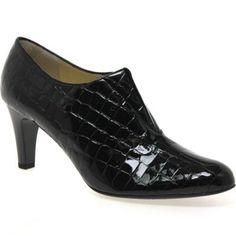 Peter Kaiser Black patent 'hawa' womens high cut court shoes-   Debenhams