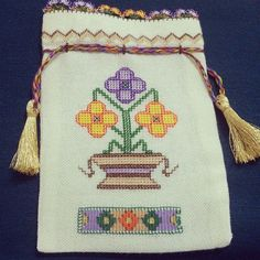 This Pin was discovered by Ünz Lavender Bags, Turkish Fashion, Blackwork, Textiles, Hand Embroidery, Diy And Crafts, Coin Purse, Cross Stitch, Wallet