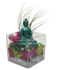 Turquoise Buddha Living Terrarium with Moss and Air Plant