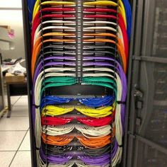 Colorful Ethernet network data patch installs.