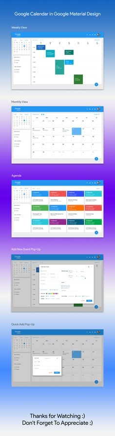 Google Calendar Material Design on Behance