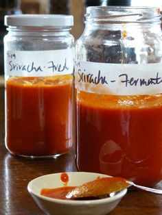 Sriracha sauce, my favorite (and used daily) hot sauce. This is one of the few items in the fridge that we buy that is pre-made. Maybe this will change once we try this Homemade Thai-style Sriracha Sauce recipe. (Viet World Kitchen)