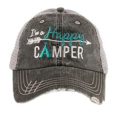 Shirt {I'm a happy camper} 2 choices. Gray or white. Hat also available in 5 colors.