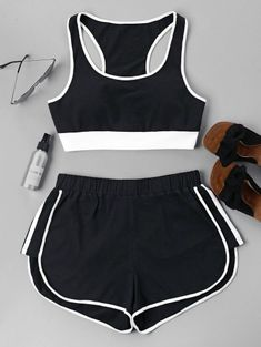 Summer Patchwork Flat Elastic High Sleeveless U Regular Active Casual and Sports Contrast Sleeveless Shorts Set Cute Lazy Outfits, Teenage Outfits, Sporty Outfits, Swag Outfits, Mode Outfits, Outfits For Teens, Pretty Outfits, Stylish Outfits, Girls Fashion Clothes