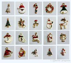 fashion alloy accessories gold christmas series jewelry crystal stones enamel christmas charms pendant xams gift - Christmas Charms
