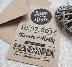 retro vintage style kraft save the date card by project pretty | notonthehighstreet.com