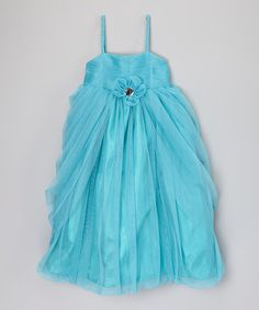Another great find on #zulily! Turquoise Flower Tulle Babydoll Dress - Toddler & Girls #zulilyfinds - front wrap around tulle