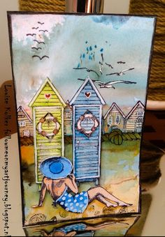 Art Journey Design-team: A day at the Beach, my indexcard of today. Nautical Cards, Atc Cards, Art Journal Inspiration, Cool Cards, Art Journals, Collage Art, Home Art, 4th Of July, Mixed Media