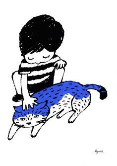 子どもと猫 Japan Illustration, Character Illustration, Asian Cat, Art Assignments, Popular Art, Cat Accessories, Cat Art, Art Inspo, Painting & Drawing