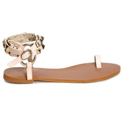 Yoins Apricot Ring Toe Rivet Embellished Sandals (730 MXN) ❤ liked on Polyvore featuring shoes, sandals, embellished flat sandals, flat shoes, flat sandals, embellished flat shoes and decorating shoes
