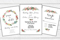 Floral Wedding Invitation Set (includes Save the Date, Invitation and RSVP)