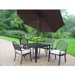 $1139.99 Oakland Living - 5 Piece Dining Set with Cushions plus 9' Tilting Umbrella and Stand - 6135-3830-4005-BN-4101-11-HB