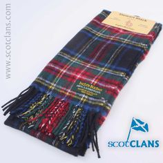 Stewart Black Tartan Lambswool Scarf. Free Worldwide Shipping Available