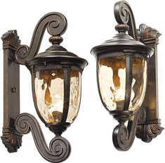 John Timberland Bellagio Carriage Style Outdoor Wall Light with Double Scroll Arms Led Path Lights, Outdoor Hanging Lights, Outdoor Post Lights, Outdoor Wall Lighting, Outdoor Walls, Wall Lights, Landscape Lighting Kits, Glass Material, Clear Glass