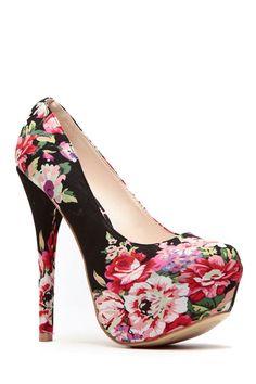 Black Floral Print Platform Pumps @ Cicihot Heel Shoes online store sales:Stiletto Heel Shoes,High Heel Pumps,Womens High Heel Shoes,Prom Shoes,Summer Shoes,Spring Shoes,Spool Heel,Womens Dress Shoes