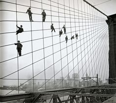 Painters on the cables of the Brooklyn Bridge, October 7, 1914