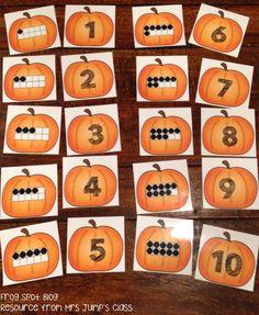 Pumpkin Ten Frame Math Center $