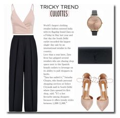 """""""Culottes #137"""" by vbasianioti ❤ liked on Polyvore featuring Iris & Ink, Steve Madden, Yves Saint Laurent, Olivia Burton, TrickyTrend and culottes"""
