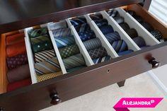 How to Organize Men's Ties from http://www.alejandra.tv/blog/2013/10/organize-mens-ties/