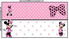 Imprimibles gratis de Minnie Mouse con lunares rosa y blanco.