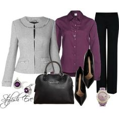 Love the grey blazer, purple top, black slacks comb… Business casual work outfit. Love the grey blazer, purple top, black slacks combo. Office Fashion, Business Fashion, Work Fashion, Business Casual, Business Professional, Business Attire, Business Style, Women's Fashion, Business Outfits