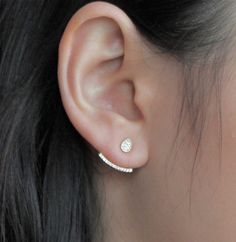 This is a pair of simple and minimalist crystal pave ear cuff sin in gold dipped Sterling silver or Sterling silver. IIt consists of one small drop