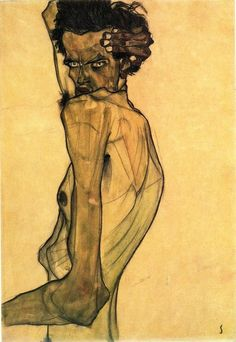 Egon Schiele, Self-Portrait With Arm Twisted Above Head, 1910